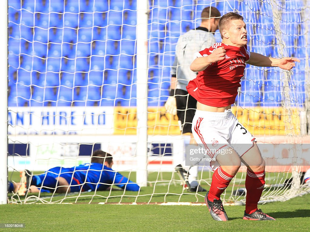 Cameron Smith of Aberdeen celebrates scoring against Inverness Caledonian Thistle during the Clydesdale Bank Scottish Premier League match on September 15, 2012 in Inverness, Scotland.
