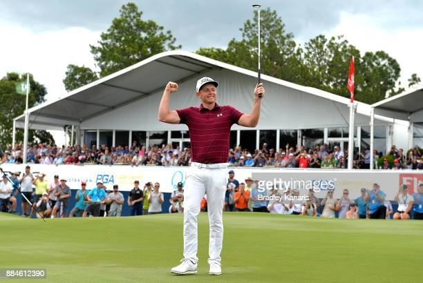 Cameron Smith of Australia celebrates victory during day four of the 2017 Australian PGA Championship at Royal Pines Resort on December 3 2017 in...