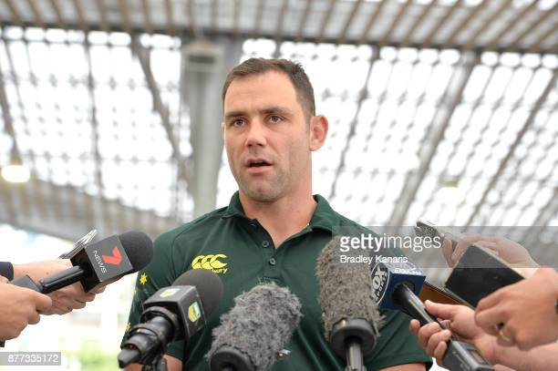 Cameron Smith of Australia chats to the media during a Rugby League World Cup Civic Reception at King George Square on November 22 2017 in Brisbane...