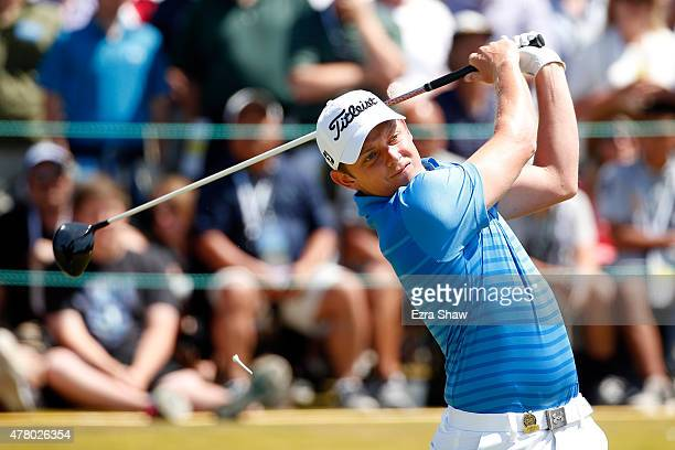 Cameron Smith of Australia hits his tee shot on the first hole during the final round of the 115th US Open Championship at Chambers Bay on June 21...