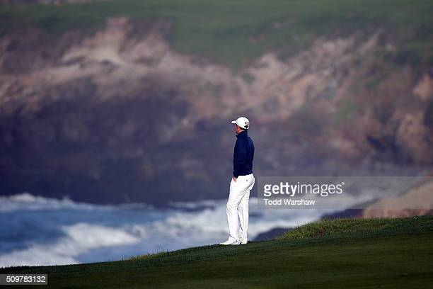 Cameron Smith of Australia looks out to the water along the 10th fairway during the second round of the ATT Pebble Beach National ProAm at the Pebble...