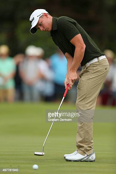 Cameron Smith of Australia makes a putt during day one of the 2015 Australian Masters at Huntingdale Golf Course on November 19 2015 in Melbourne...