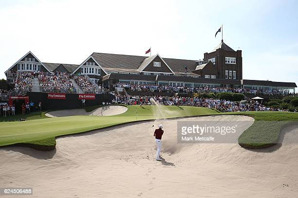 Cameron Smith of Australia plays a bunker shot on the 18th hole during day four of the 2016 Australian golf Open at Royal Sydney Golf Club on...