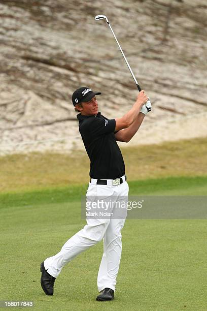 Cameron Smith of Australia plays a fairway shot during round four of the 2012 Australian Open at The Lakes Golf Club on December 9 2012 in Sydney...