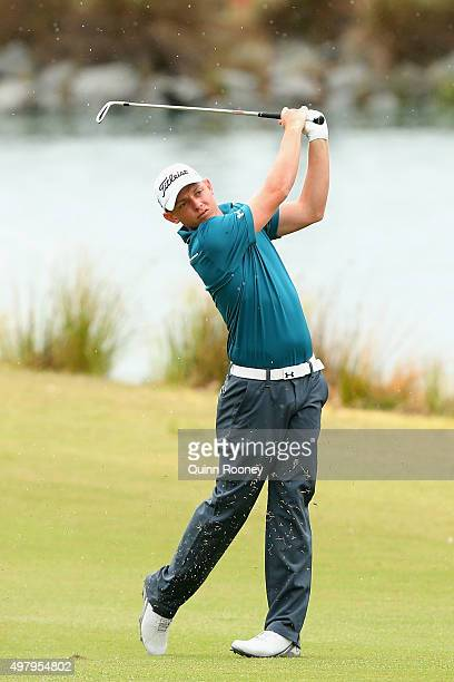 Cameron Smith of Australia plays an approach shot during day two of the 2015 Australian Masters at Huntingdale Golf Club on November 20 2015 in...