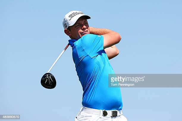 Cameron Smith of Australia plays his shot from the 14th tee during the first round of the 2015 PGA Championship at Whistling Straits on August 13...
