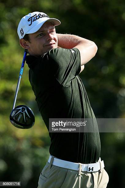 Cameron Smith of Australia plays his shot from the first tee during the first round of the Sony Open In Hawaii at Waialae Country Club on January 14...