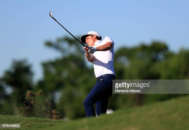 Cameron Smith of Australia plays his shot on the 18th hole in a suddendeath playoff during a continuation of the final round of the Zurich Classic at...