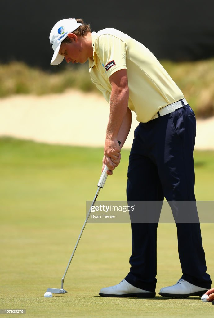 Cameron Smith of Australia putts on the 18th Green during round three of the 2012 Australian Open at The Lakes Golf Club on December 8, 2012 in Sydney, Australia.