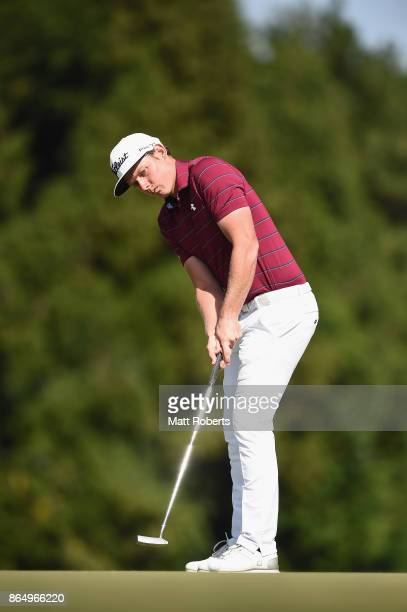Cameron Smith of Australia putts on the 8th green during the final round of the CJ Cup at Nine Bridges on October 22 2017 in Jeju South Korea