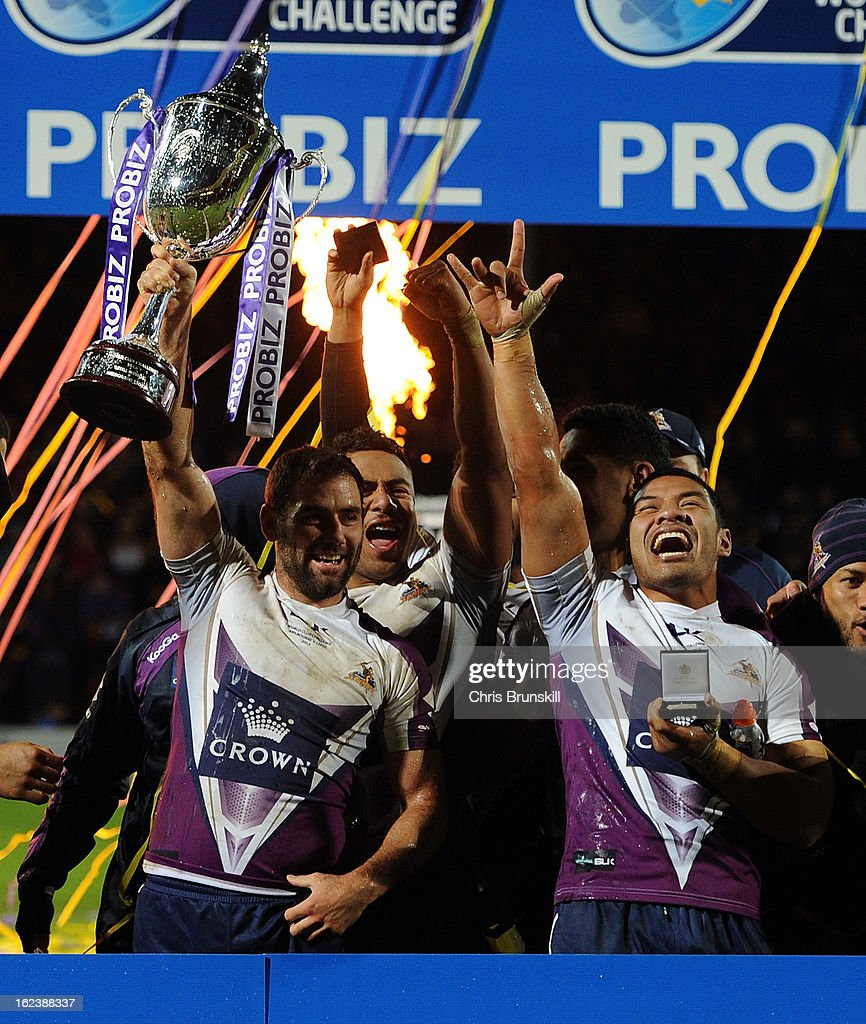 Cameron Smith of Melbourne Storm lifts the trophy following the World Club Challenge match between Leeds Rhinos and Melbourne Storm at Headingley Carnegie Stadium on February 22, 2013 in Leeds, England.