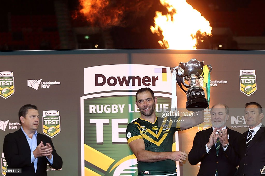 Cameron Smith of the Kangaroos celebrates the win during the International Rugby League Trans Tasman Test match between the Australian Kangaroos and the New Zealand Kiwis at Hunter Stadium on May 6, 2016 in Newcastle, Australia.