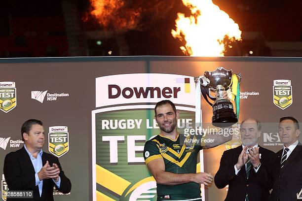 Cameron Smith of the Kangaroos celebrates the win during the International Rugby League Trans Tasman Test match between the Australian Kangaroos and...