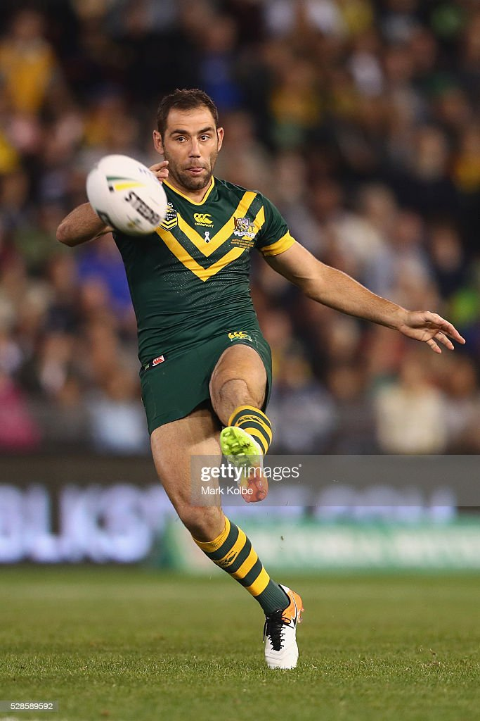 <a gi-track='captionPersonalityLinkClicked' href=/galleries/search?phrase=Cameron+Smith+-+Rugby+League+Player&family=editorial&specificpeople=453295 ng-click='$event.stopPropagation()'>Cameron Smith</a> of the Kangaroos kicks during the International Rugby League Trans Tasman Test match between the Australian Kangaroos and the New Zealand Kiwis at Hunter Stadium on May 6, 2016 in Newcastle, Australia.