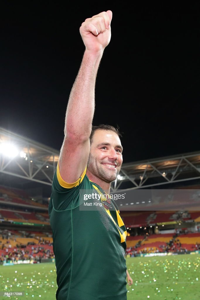 Cameron Smith of the Kangaroos thanks the crowd after winning the 2017 Rugby League World Cup Final between the Australian Kangaroos and England at Suncorp Stadium on December 2, 2017 in Brisbane, Australia.