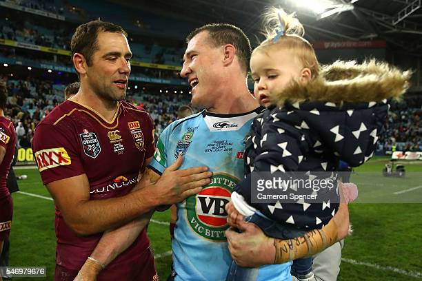 Cameron Smith of the Maroons and Paul Gallen of the Blues embrace after game three of the State Of Origin series between the New South Wales Blues...