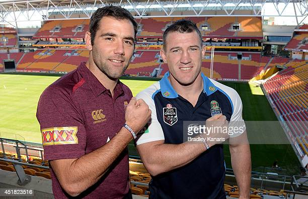 Cameron Smith of the Maroons and Paul Gallen of the Blues pose for a photo during the official launch of the RiseForAlex round at Suncorp Stadium on...