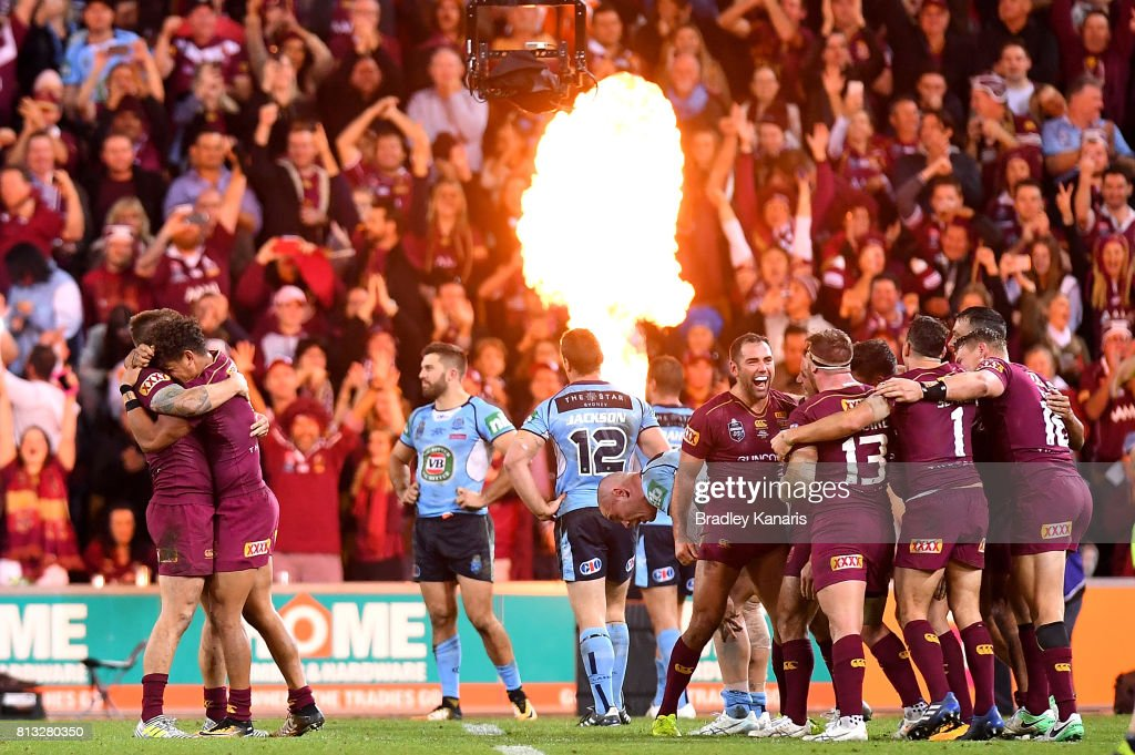 Cameron Smith of the Maroons and team mates celebrate victory after winning game three of the State Of Origin series between the Queensland Maroons and the New South Wales Blues at Suncorp Stadium on July 12, 2017 in Brisbane, Australia.