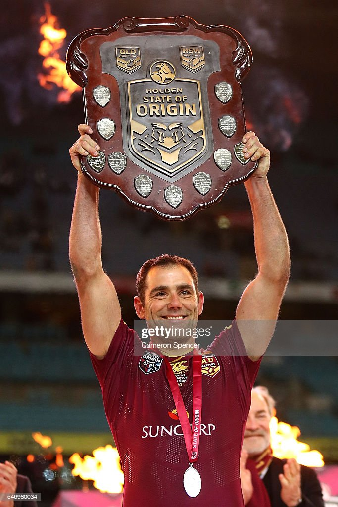 Cameron Smith of the Maroons holds aloft the State of Origin Shield after winning the series 2-1 following game three of the State Of Origin series between the New South Wales Blues and the Queensland Maroons at ANZ Stadium on July 13, 2016 in Sydney, Australia.
