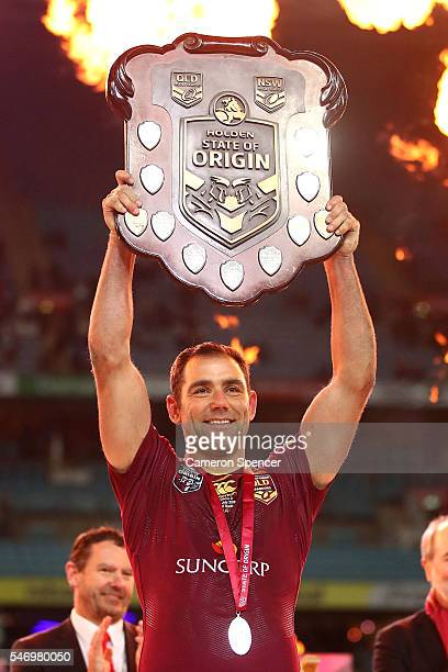Cameron Smith of the Maroons holds aloft the State of Origin Shield after winning the series 21 following game three of the State Of Origin series...