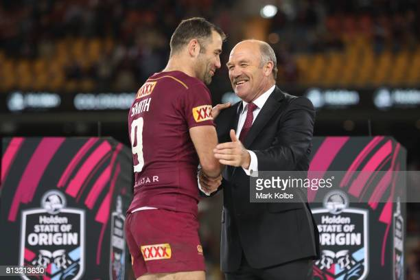 Cameron Smith of the Maroons is congratulated by Wally Lewis after game three of the State Of Origin series between the Queensland Maroons and the...