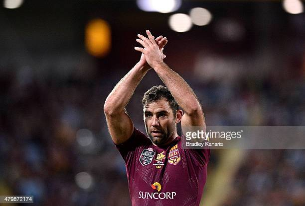 Cameron Smith of the Maroons waves to fans as they applaud him during game three of the State of Origin series between the Queensland Maroons and the...