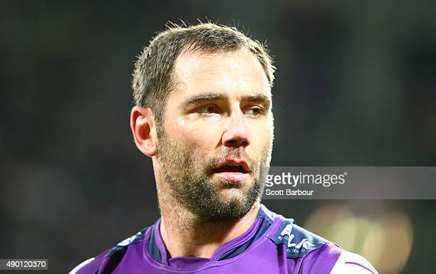 Cameron Smith of the Melbourne Storm looks on after a try during the NRL Second Preliminary Final match between the Melbourne Storm and the North...