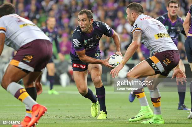 Cameron Smith of the Melbourne Storm runs with the ball during the round three NRL match between the Melbourne Storm and the Brisbane Broncos at AAMI...