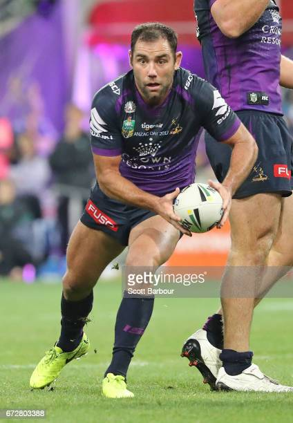 Cameron Smith of the Melbourne Storm runs with the ball during the round eight NRL match between the Melbourne Storm and the New Zealand Warriors at...