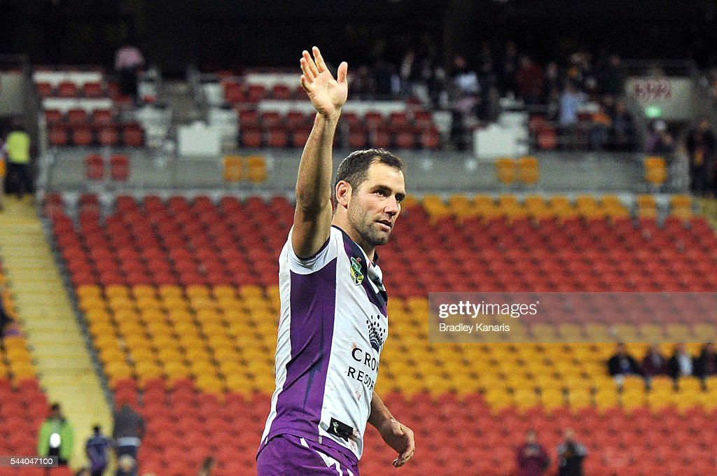 Cameron Smith of the Storm celebrates victory after the round 17 NRL match between the Brisbane Broncos and the Melbourne Storm at Suncorp Stadium on July 1, 2016 in Brisbane, Australia.