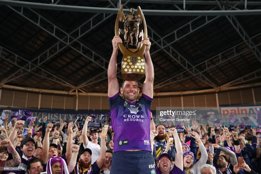 Cameron Smith of the Storm holds aloft the Provan-Summons Trophy after winning the 2017 NRL Grand Final match between the Melbourne Storm and the North Queensland Cowboys at ANZ Stadium on October 1, 2017 in Sydney, Australia.