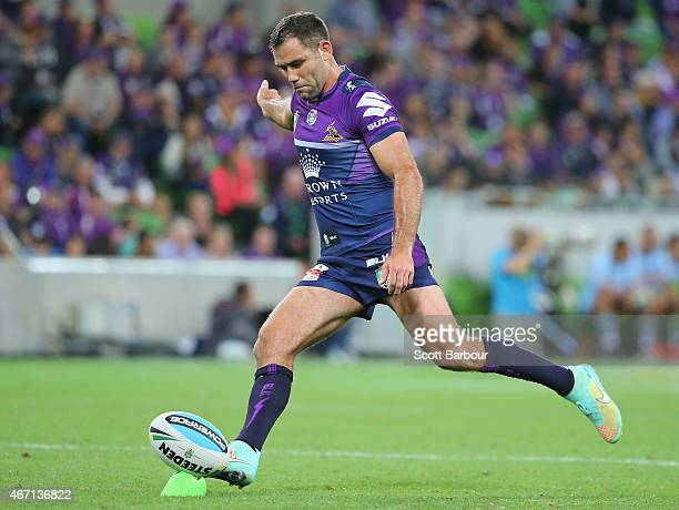 Cameron Smith of the Storm kicks a conversion kick during the round three NRL match between the Melbourne Storm and the Cronulla Sharks at AAMI Park...