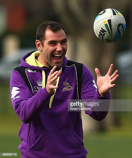 Cameron Smith of the Storm laughs during a Melbourne Storm media session at Gosch's Paddock on August 6 2015 in Melbourne Australia
