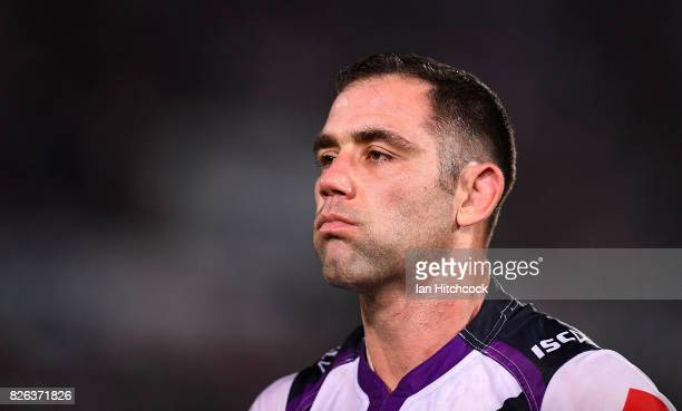 Cameron Smith of the Storm looks on during the round 22 NRL match between the North Queensland Cowboys and the Melbourne Storm at 1300SMILES Stadium...