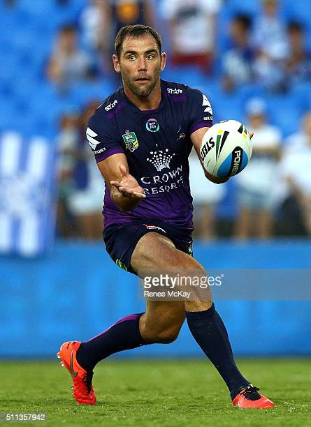 Cameron Smith of the Storm passes the ball during the NRL Trial match between the Canterbury Bulldogs and the Melbourne Storm at Belmore Sports...