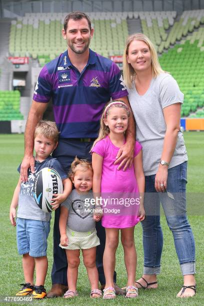 Cameron Smith of the Storm who has signed a four year contract extension and breaks the game record for a Storm player this weekend poses with...