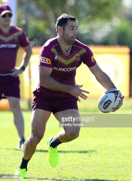 Cameron Smith runs with the ball during a Queensland Maroons training session at Sanctuary Cove Resort on June 18 2017 at the Gold Coast Australia