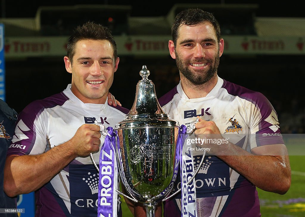 Cameron Smith the captain of Melbourne Storm and Man of the Match Cooper Cronk lift the World Club Challenge trophy after victory over Leeds Rhinos in the match between Leeds Rhinos and Melbourne Storm at Headingley Carnegie Stadium on February 22, 2013 in Leeds, England.