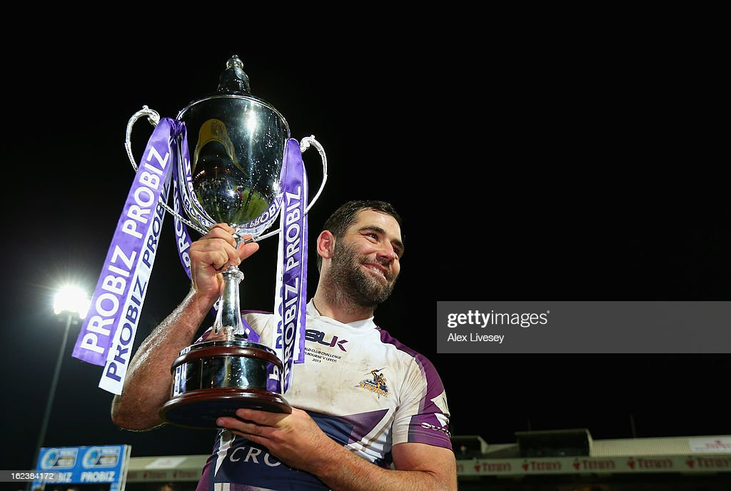 Cameron Smith the captain of Melbourne Storm lifts the World Club Challenge trophy after victory over Leeds Rhinos in the match between Leeds Rhinos and Melbourne Storm at Headingley Carnegie Stadium on February 22, 2013 in Leeds, England.