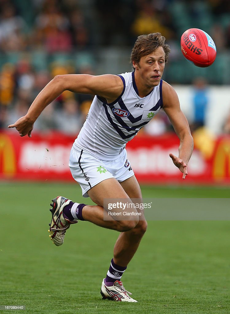 Cameron Sutcliffe of the Dockers chases the ball during the round four AFL match between the Hawthorn Hawks and the Fremantle Dockers at Aurora Stadium on April 20, 2013 in Launceston, Australia.