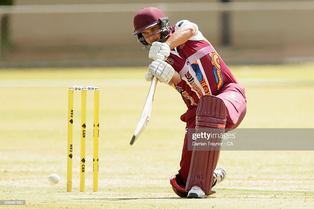 Cameron Trask of Queensland bats during the National Indigenous Cricket Championships on February 8, 2016 in Alice Springs, Australia.