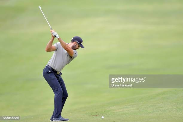 Cameron Trigale hits his second shot on the seventh hole during Round Two of the ATT Byron Nelson at the TPC Four Seasons Resort Las Colinas on May...