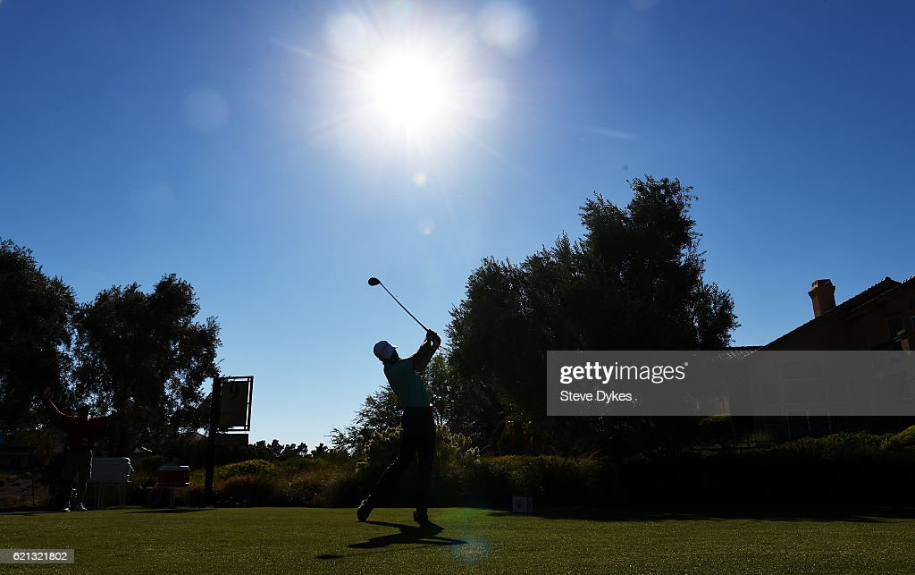 Cameron Tringale of the United States plays his shot from the ninth tee during the third round of the Shriners Hospitals For Children Open on November 5, 2016 in Las Vegas, Nevada.