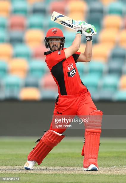 Cameron Valente of the Redbacks bats during the JLT One Day Cup Final match between Western Australia and South Australia at Blundstone Arena on...