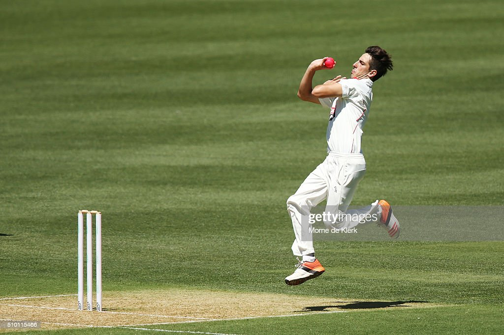 Cameron Valente of the Redbacks bowls on debut during day one of the Sheffield Shield match between South Australia and Victoria at Adelaide Oval on February 14, 2016 in Adelaide, Australia.