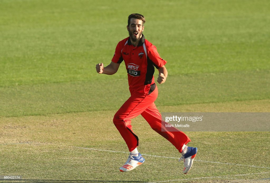 Cameron Valente of the Redbacks celebrates taking a wicket during the JLT One Day Cup match between Victoria and South Australia at North Sydney Oval on October 12, 2017 in Sydney, Australia.