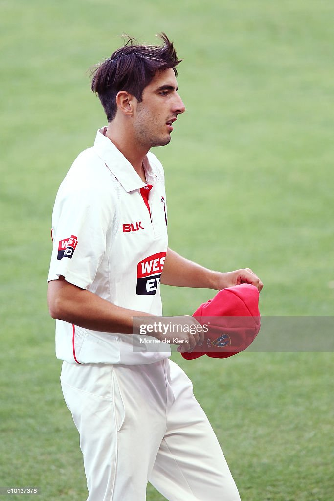 Cameron Valente of the Redbacks looks on during day one of the Sheffield Shield match between South Australia and Victoria at Adelaide Oval on February 14, 2016 in Adelaide, Australia.