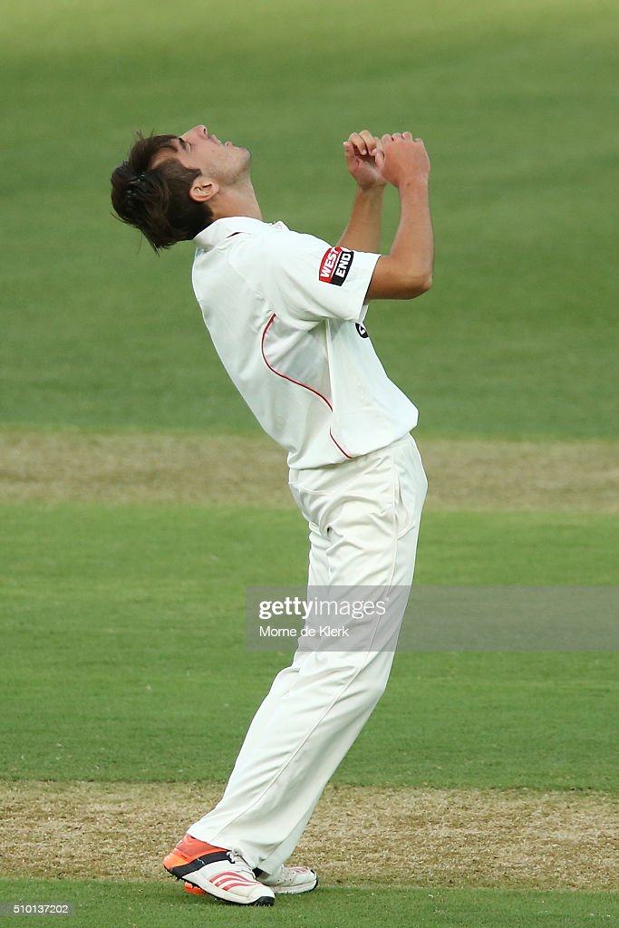 Cameron Valente of the Redbacks reacts after his LBW appeal was turned down by the umpire during day one of the Sheffield Shield match between South Australia and Victoria at Adelaide Oval on February 14, 2016 in Adelaide, Australia.