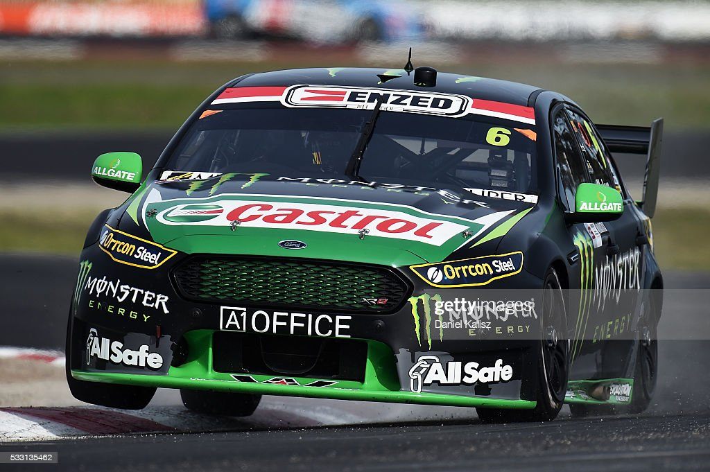 Cameron Waters drives the Monster Energy Ford Falcon FGX during practice for the V8 Supercars Winton round at Winton Raceway on May 21 2016 in...