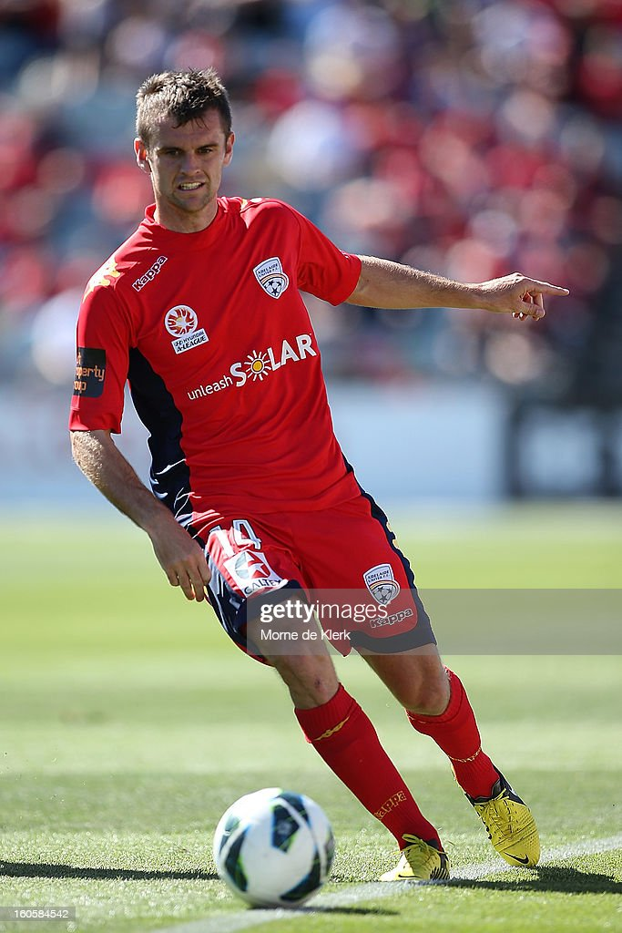 Cameron Watson of Adelaide passes the ball during the round 19 A-League match between Adelaide United and the Western Sydney Wanderers at Hindmarsh Stadium on February 3, 2013 in Adelaide, Australia.